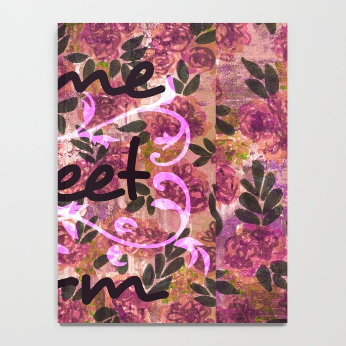 HOME SWEET DORM Colorful Floral Fine Art Trendy Typography Quote Feminine Pink Hipster Girly Cool Notebook