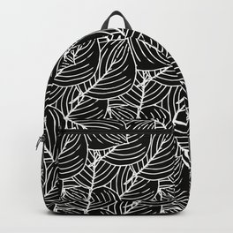Simple Leaves Pattern - White on Black - Mix & Match with Simplicity of life Backpack