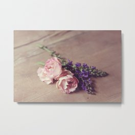 Farmhouse Pink Roses Metal Print