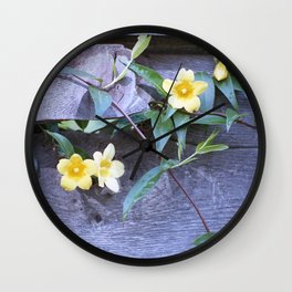 petite yellow flowers Wall Clock