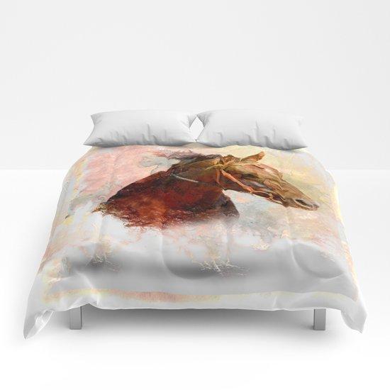 Horse in Water Color Splash Comforters