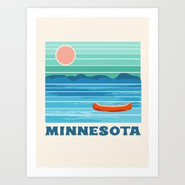 Minnesota travel poster retro vibes 1970's style throwback retro art state usa prints Art Print