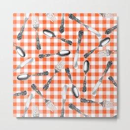 Utensils on Orange Picnic Blanket Metal Print