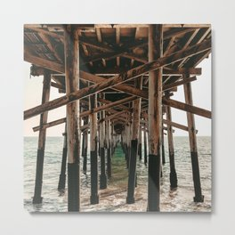 Balboa Pier Print {1 of 3} | Newport Beach Ocean Photography Teal Summer Sun Wave Art Metal Print