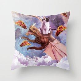 Laser Eyes Space Cat Riding Dragon Throw Pillow