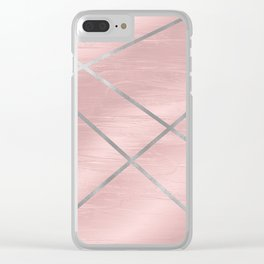 Modern Pink & Silver Line Art Clear iPhone Case