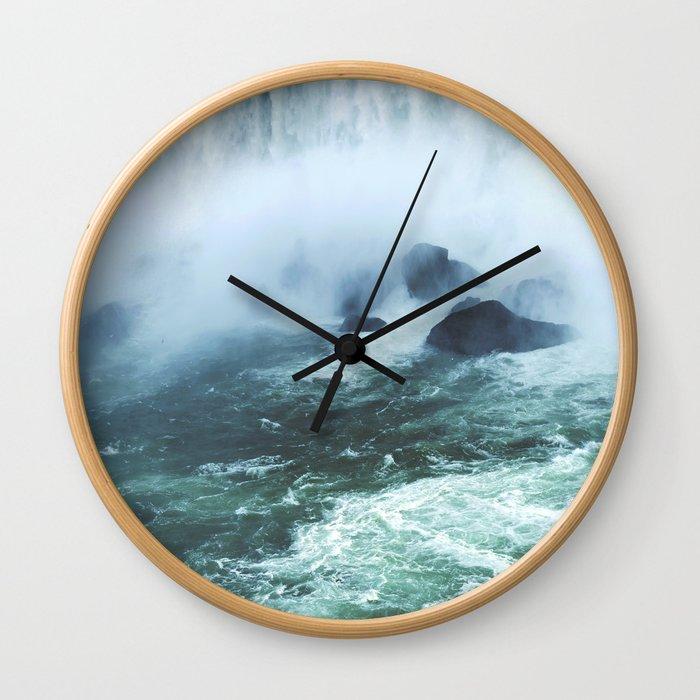 From below where all the water falls, Niagara 03 Wall Clock