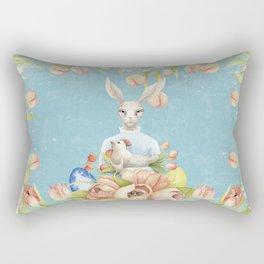 Beautiful Floral Flowers Female Animal Easter Bunny Rectangular Pillow