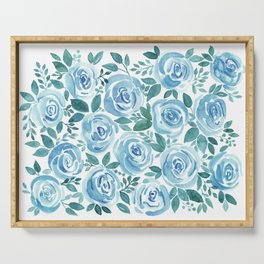 Pale blue roses . Watercolor . Serving Tray