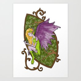 Faerie's Stained Glass Art Print