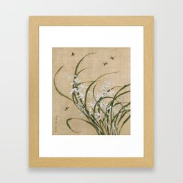 Vintage Chinese Ink and Brush Painting and Calligraphy Framed Art Print