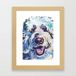 Golden Doodle Dog Portrait Pop Art painting by Lea Framed Art Print