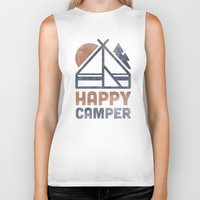 backpack Biker Tanks featuring Happy Camper by Zeke Tucker