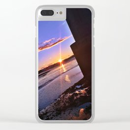 Moving Tide at Sunset under the Casco Bay Bridge Clear iPhone Case