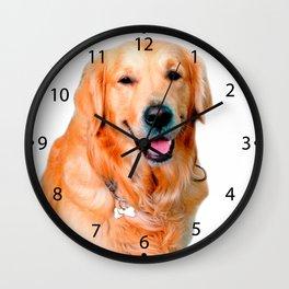 Beautiful Dog Golden Retriever and Your Bone Wall Clock