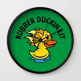 Rubber Duckin Lit - Flaming Toy Duck Wall Clock