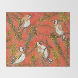 Goldfinches in Gorse Throw Blanket