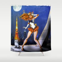 sailor venus Shower Curtains featuring Sailor Venus by Nelson Rodrigues