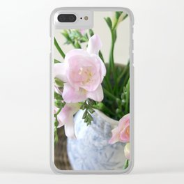 Pink Freesia Clear iPhone Case