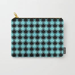 Mermaid Scales Blue Turquoise Teal on Black Carry-All Pouch
