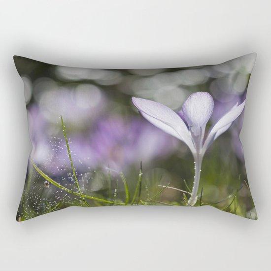 Blue Spring Flower  Crocus - Floral Rectangular Pillow