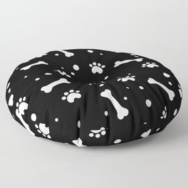 White dog paw and bones pattern on black background Floor Pillow