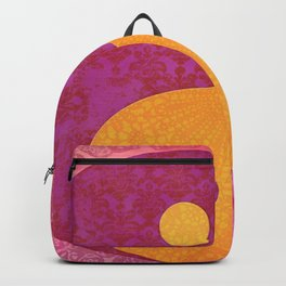 Yin and yang pink Watercolor Collage with Calligraphy Backpack