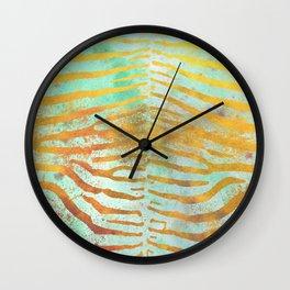 Zebra Stripes | Celadon & Gold | Watercolor Animal Print Art Wall Clock