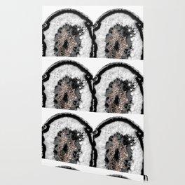 Gray Black White Agate Glitter Glamor #3 #gem #decor #art #society6 Wallpaper