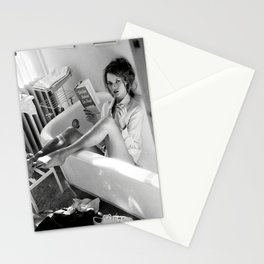Kate Moss Reading in Bathtub, Fashion art, Fashion Print, Gifts for Her, Style, Stationery Cards