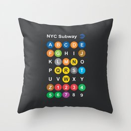 New York City subway alphabet map, NYC, lettering illustration, dark version, usa typography Throw Pillow