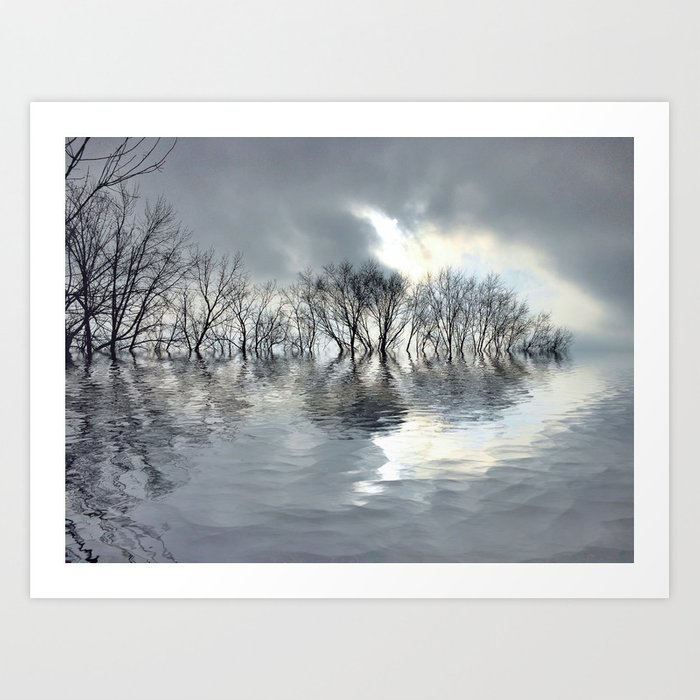 On Silver Pond Art Print