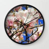 magnolia Wall Clocks featuring  Magnolia. by Assiyam
