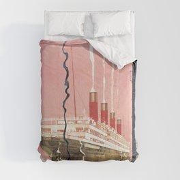 vintage travel poster - cunard line Comforters