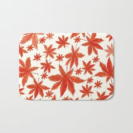 red maple leaves pattern Bath Mat