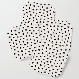 Modern Polka Dots Black on Light Gray Coaster