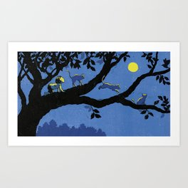 cats and the moon Art Print