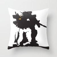 gundam Throw Pillows featuring Gundam RX-78-2 by Jason Weisbrot