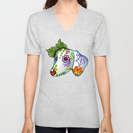 Dachshund - Day of the Dead Sugar Skull Wiener Dog Unisex V-Neck