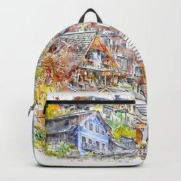 Hallstatt Austria Watercolor Backpack