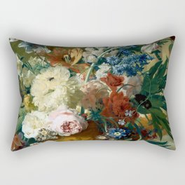 """Jan van Huysum """"Flowers in a Vase with Crown Imperial and Apple Blossom at the Top"""" Rectangular Pillow"""