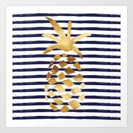 Pineapple & Stripes - Navy / White / Gold Art Print