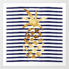 Pineapple & Stripes - Navy / White / Gold Art Print
