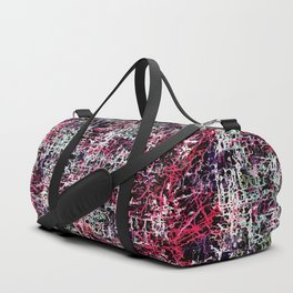psychedelic abstract art pattern texture background in red pink black Duffle Bag