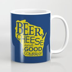 Blue and Gold Beer, Cheese and Good Company Wisconsin Graphic Mug