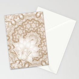 Butterfly on mandala in iced coffee tones Stationery Cards