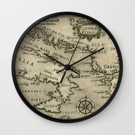 Vintage Map of Italy and Greece (1587) Wall Clock