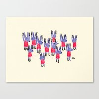 rabbits Canvas Prints featuring rabbits by Hyebin Lee