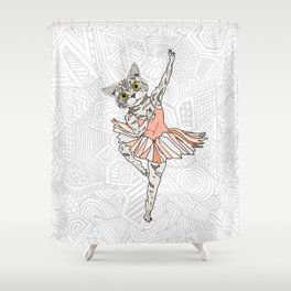 Cat Ballerina Tutu Shower Curtain