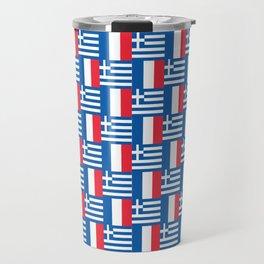 Mix of flag: France and greece Travel Mug